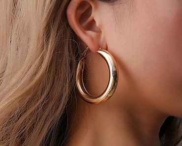 EXQUISITE GOLD & SILVER TUBE HOOP EARRINGS