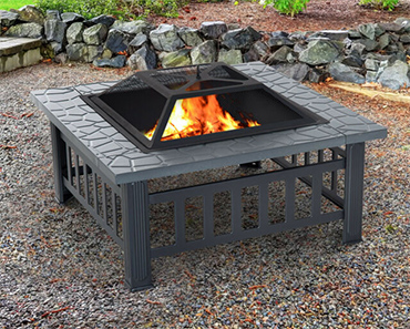 Outsunny Steel Square Outdoor Patio Wood Burning Fire Pit Table