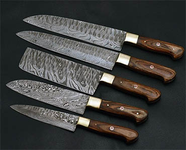 Damascus Kitchen Knife Set